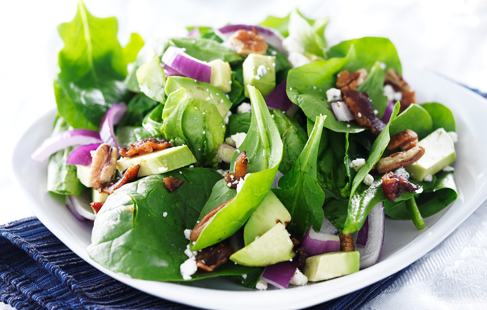 Plum and pecan spinach salad with pomegranate dressing nutritious life - Deseed pomegranate less one minute video ...
