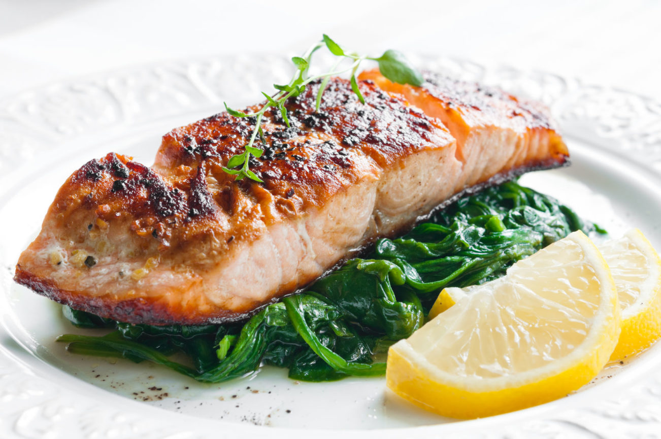 Broiled Salmon with Spinach