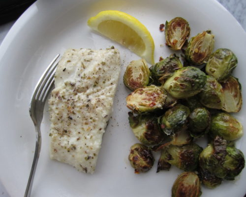 Parmesan-Coated Halibut and Spicy Sprouts
