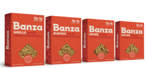 Red boxes of Banza Elbow Pasta