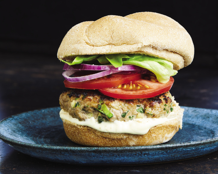 Chicken and Vegetable Burgers With the Works